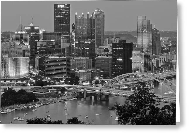 Black And White Of Pittsburgh Greeting Card by Frozen in Time Fine Art Photography