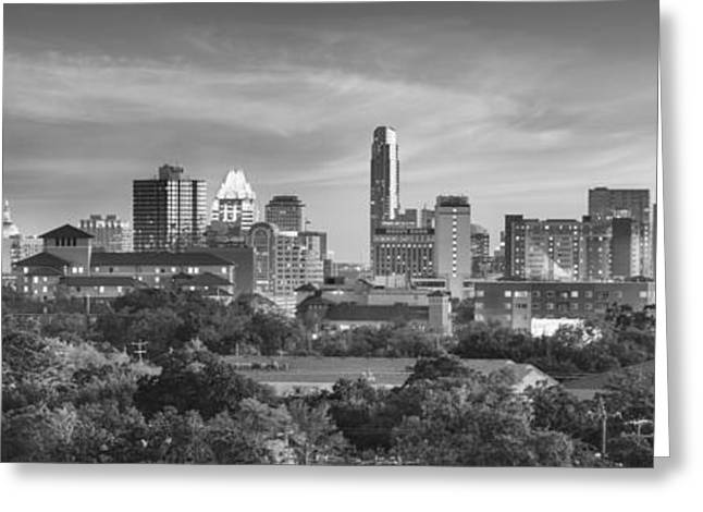 Black And White Of The Austin, Texas Skyline 1 Greeting Card by Rob Greebon