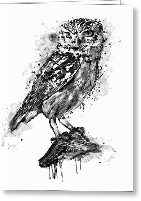 Black And White Owl Greeting Card by Marian Voicu