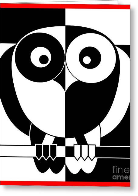 Black And White Owl Greeting Card by Santi Goma Rodriguez