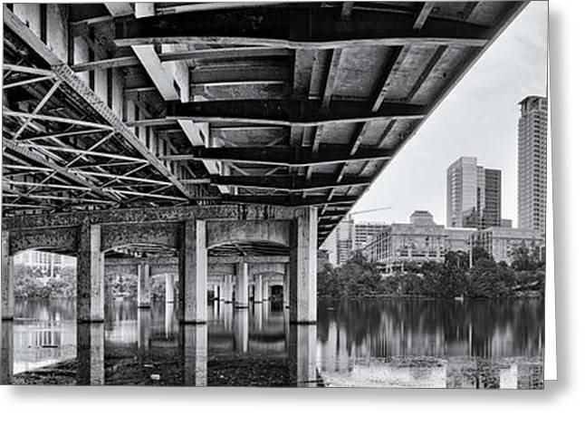 Black And White Panorama Of Downtown Austin Skyline Under The Bridge - Austin Texas  Greeting Card by Silvio Ligutti