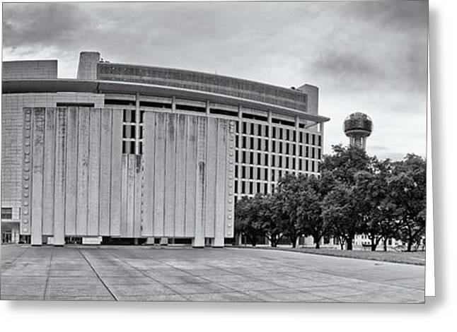Black And White Panorama Of Jfk Memorial And Old Red Museum - Dallas Texas Greeting Card by Silvio Ligutti
