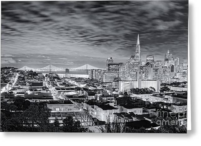 Black And White Panorama Of San Francisco Skyline And Oakland Bay Bridge From Ina Coolbrith Park  Greeting Card by Silvio Ligutti