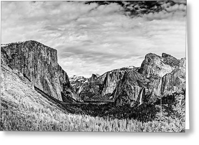 Black And White Panorama Of Yosemite Valley From Tunnel View Scenic Overlook - Sierra Nevada Greeting Card
