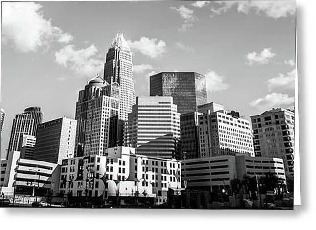 Black And White Panorama Photo Of Charlotte Skyline Greeting Card by Paul Velgos