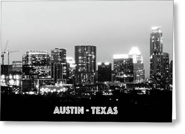 Black And White Panoramic View Of Downtown Austin Greeting Card