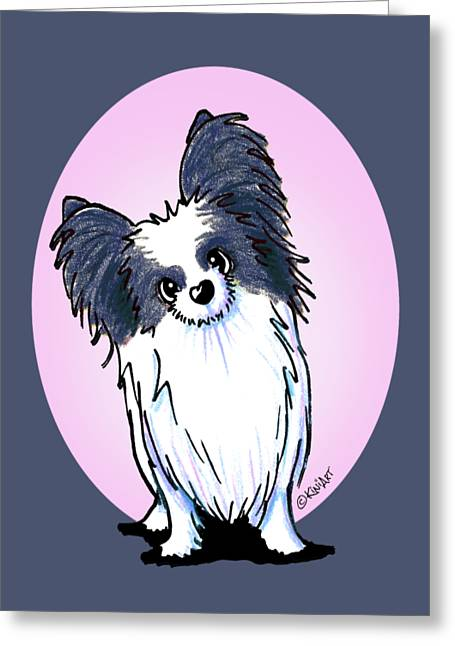 Black And White Papillon Greeting Card