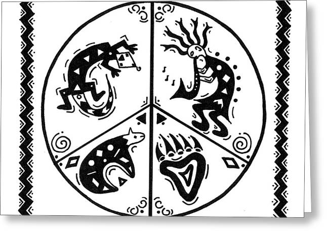 Black And White Peace And Love Greeting Card by Susie WEBER