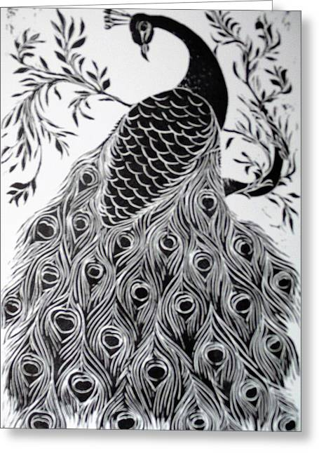 Black And White Peacock Greeting Card