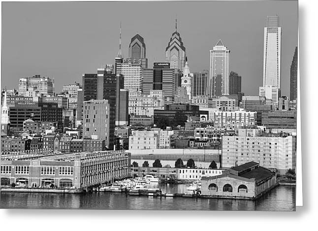 Black And White Philadelphia - Delaware River Greeting Card