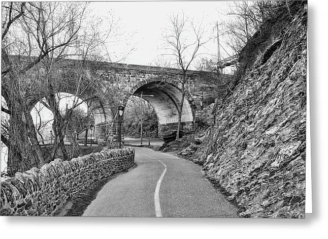 Black And White Philadelphia - The Bike Path On Kelly Drive Greeting Card by Bill Cannon
