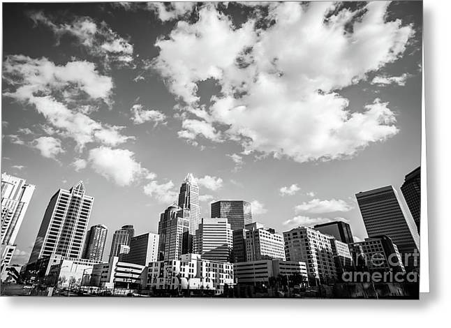 Black And White Photo Of Charlotte Skyline Greeting Card by Paul Velgos