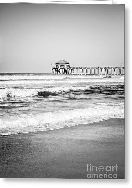 Black And White Photo Of Huntington Beach Pier  Greeting Card