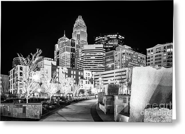 Black And White Photo Of The Charlotte Skyline Greeting Card by Paul Velgos