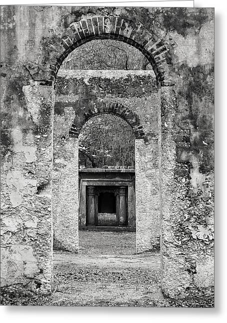 Black And White Photograph Beaufort Historic Church - Chapel Of The Ease Greeting Card