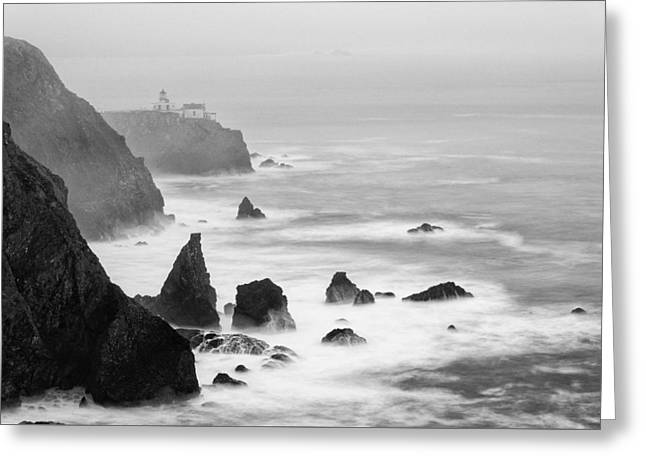 Black And White Photograph Of Point Bonita Lighthouse - Marin Headlands San Francisco California Greeting Card by Silvio Ligutti