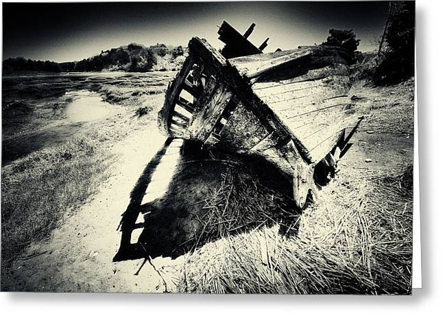 Black And White Photography Shipwreck Pinhole Greeting Card by Dapixara Art