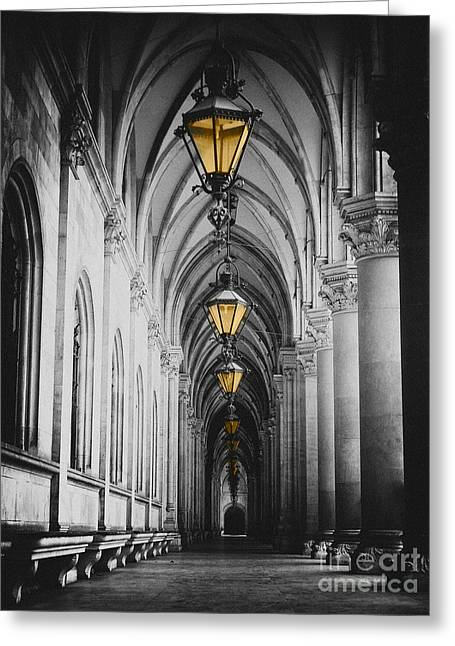 Black And White Picture Of City Hall Corridor With Lanterns And Pillars In Vienna Rathaus Greeting Card