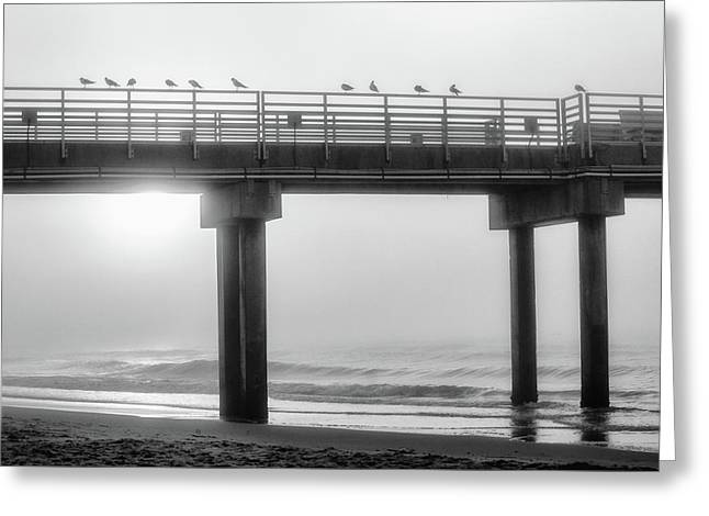 Greeting Card featuring the photograph Black And White Pier Alabama  by John McGraw