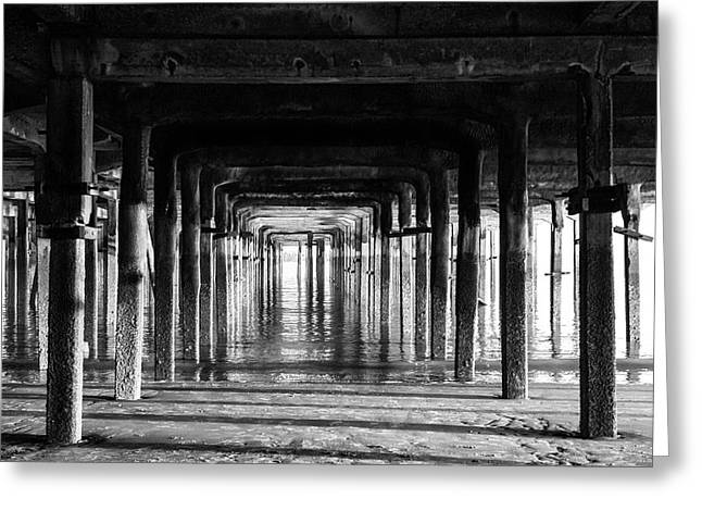 Black And White Pier Greeting Card by Martin Newman