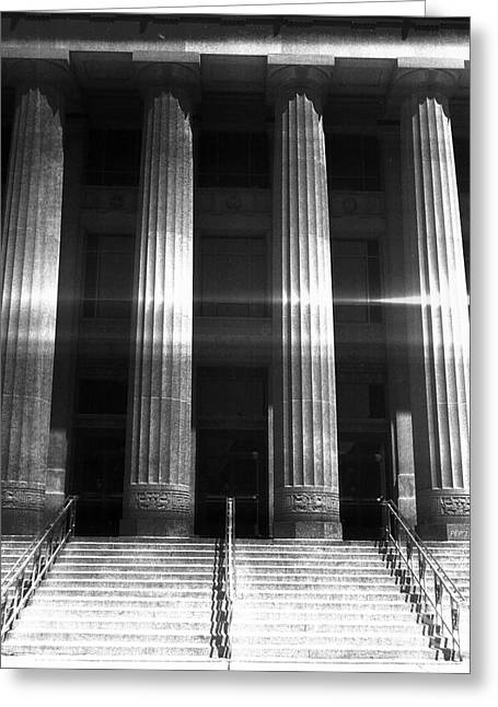 Black And White Pillars Greeting Card by Phil Perkins