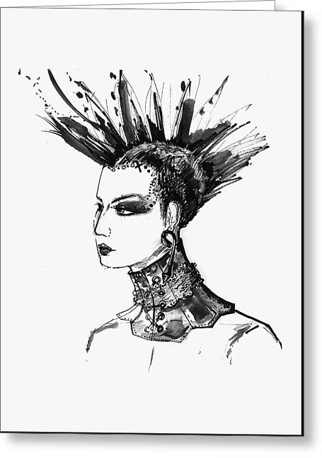 Black And White Punk Rock Girl Greeting Card by Marian Voicu