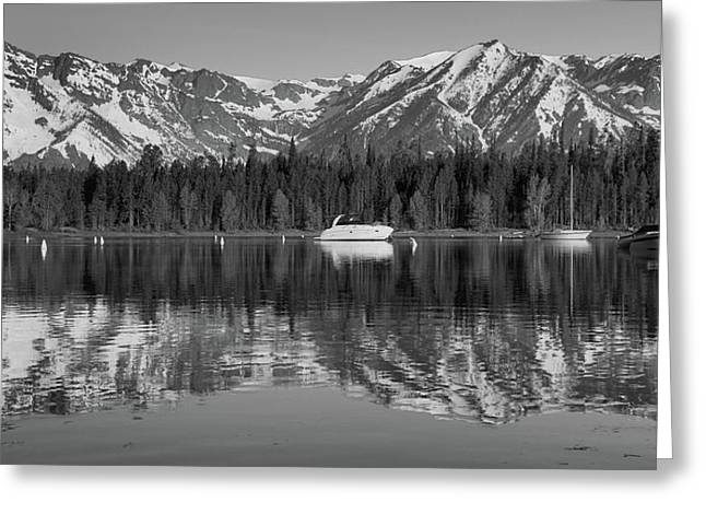 Black And White Reflection On Jackson Lake Wyoming Greeting Card by Dan Sproul