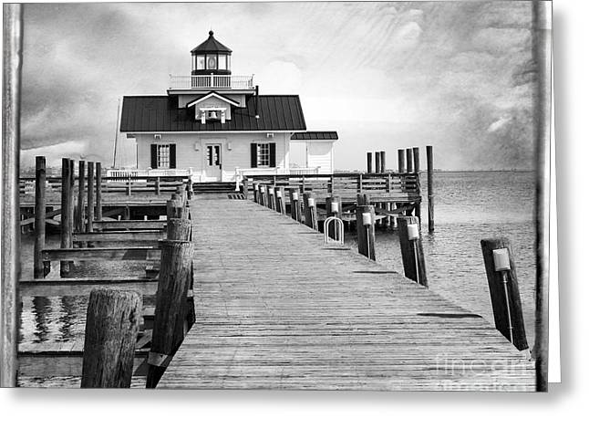 Black And White  Roanoke Lighthouse Greeting Card by Tom Gari Gallery-Three-Photography
