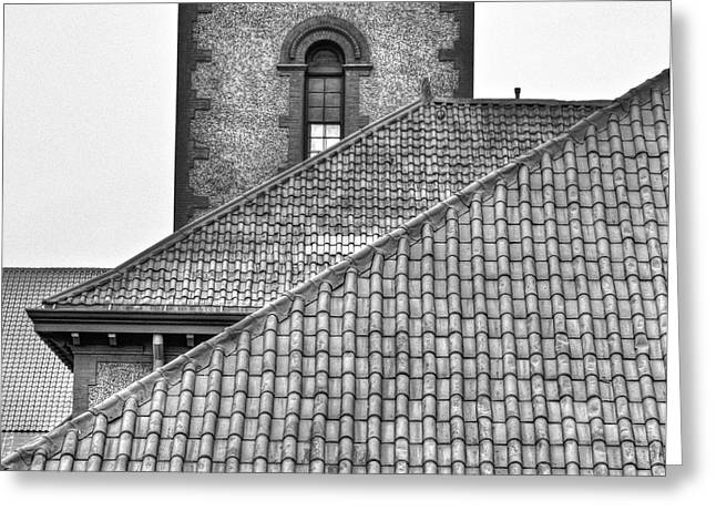 Black And White Rooflines Greeting Card by Jean Noren