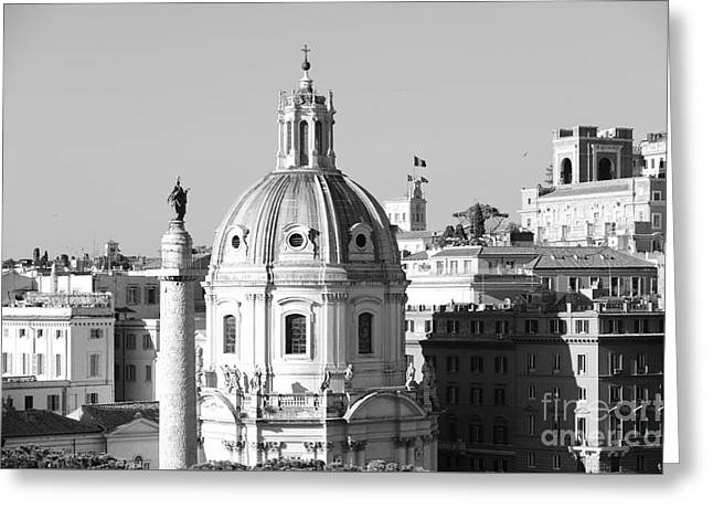 Black And White Rooftop In Rome Greeting Card by Stefano Senise