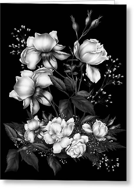 Black And White Roses On Black Greeting Card by Georgiana Romanovna