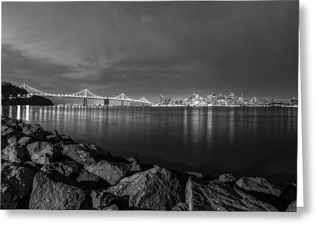 Black And White San Fransico From Treasure Island Greeting Card