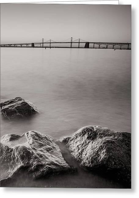 Black And White Sandy Point Greeting Card by Jennifer Casey