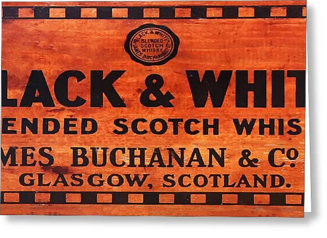 Black And White Scotch Whiskey Wood Sign Greeting Card by Jon Neidert