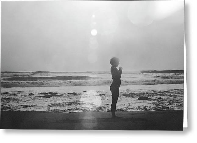 Black And White Silhouette Of A Girl Practicing Yoga On The Beach By The Sea Greeting Card