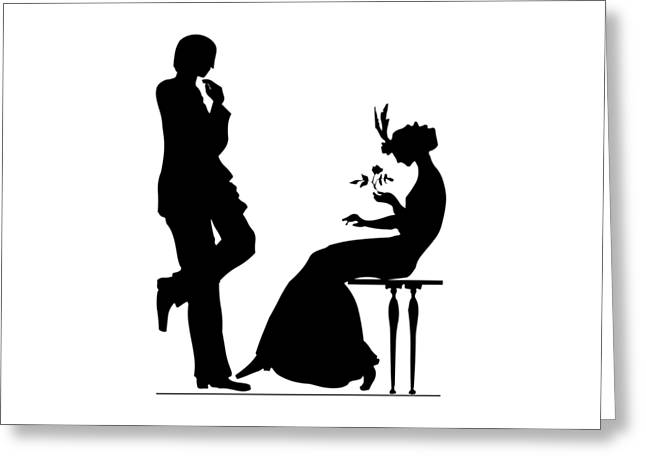 Black And White Silhouette Of A Man Giving A Woman A Flower Greeting Card by Rose Santuci-Sofranko