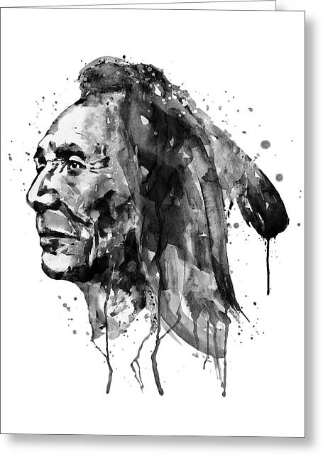 Black And White Sioux Warrior Watercolor Greeting Card