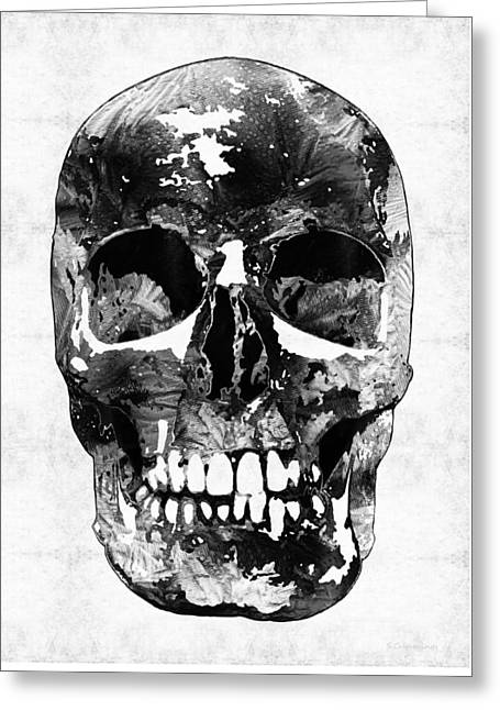 Black And White Skull By Sharon Cummings Greeting Card by Sharon Cummings