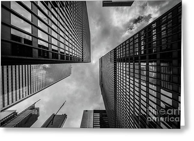 Black And White Skyscraper Greeting Card by MGL Meiklejohn Graphics Licensing
