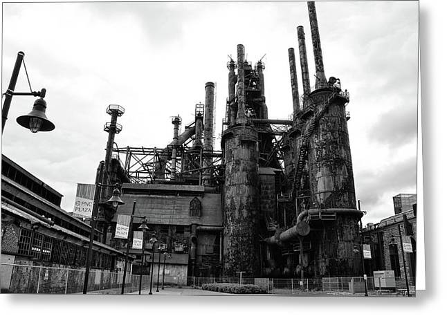 Black And White Steel Stacks - Bethlehem Pa Greeting Card by Bill Cannon