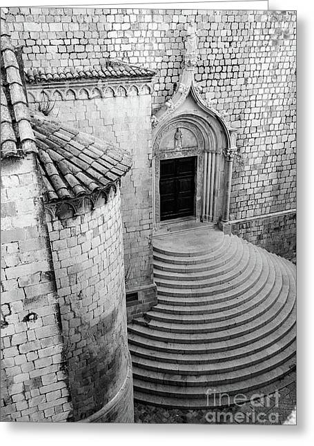 Black And White, Stonework Of St Dominika Street, Game Of Thrones Kings Landing, Dubrovnik, Croatia Greeting Card by Global Light Photography - Nicole Leffer
