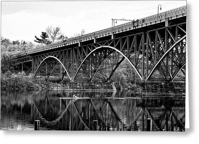 Greeting Card featuring the photograph Black And White - Strawberry Mansion Bridge - Philadelphia by Bill Cannon