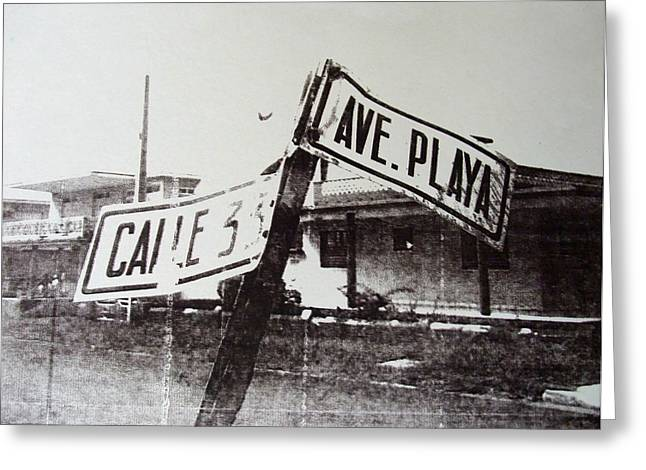 Black And White Street Sign Greeting Card