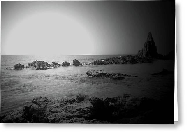 Black And White Sunset In Spain Greeting Card