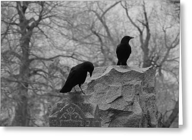 Black And White Their Favorite Haunt Greeting Card by Gothicrow Images