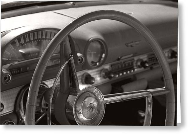 Black And White Thunderbird Steering Wheel  Greeting Card