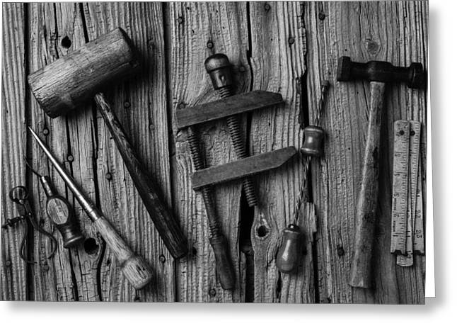 Black And White Tools Greeting Card by Garry Gay