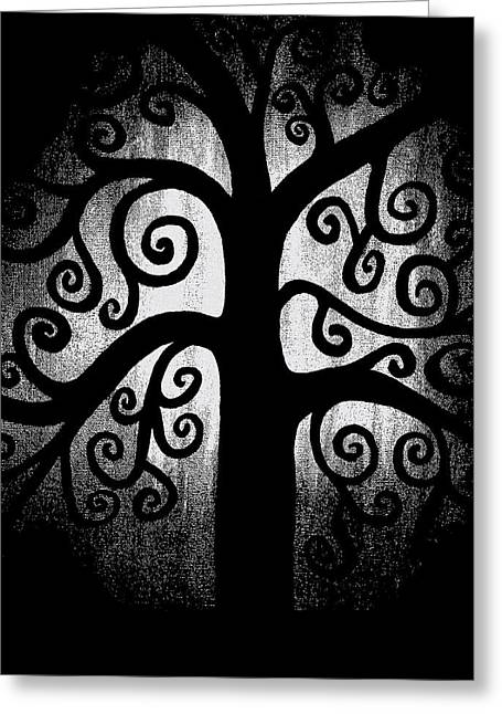 Best Sellers -  - Light And Dark Greeting Cards - Black and White Tree Greeting Card by Angelina Vick