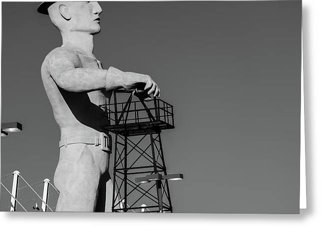 Greeting Card featuring the photograph Black And White Tulsa Driller - Oklahoma by Gregory Ballos