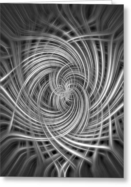 Black And White Twist Abstract Greeting Card by Terry DeLuco